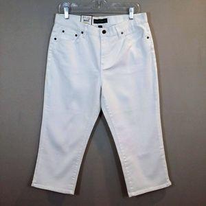 NWT Ralph Lauren White Denim Classic Midcalf Jeans